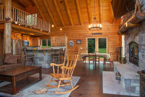 Real Log Homes greatroom
