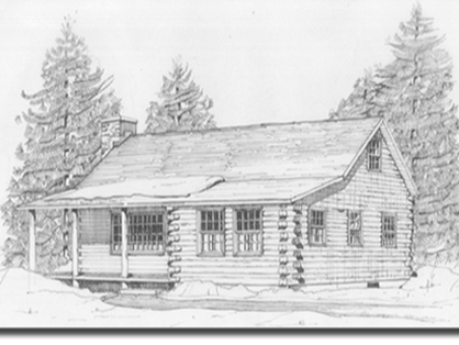 Real Log Homes Hartland model sketch